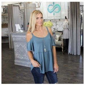 NWT Infinity Raine teal cold shoulder top